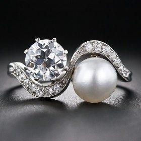 Natural pearl and diamond Edwardian twin ring