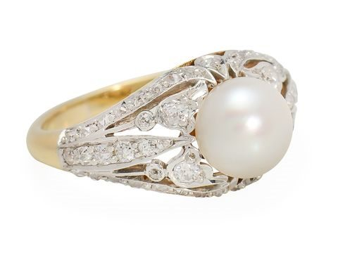 Pearl and diamond Edwardian gold and platinum ring
