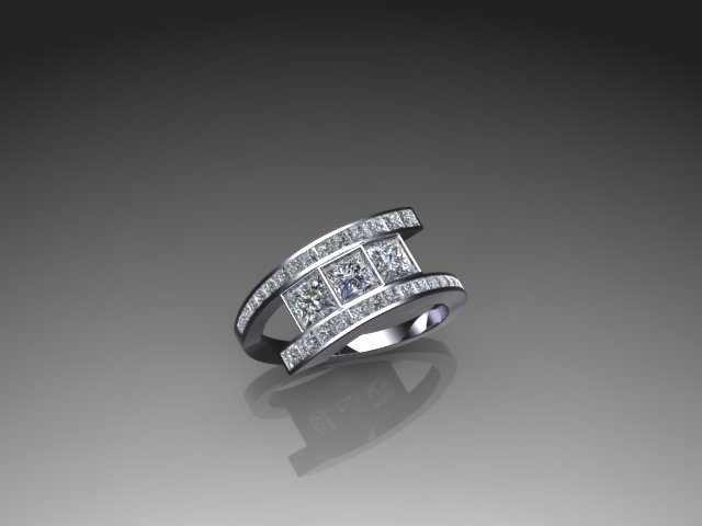 Contemporary bypass diamond ring