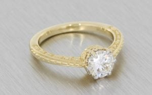 10kt Gold Vintage Sculpted Moissanite Engagement Ring  - Portfolio