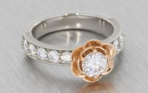 Two tone floral moissanite engagement ring - Portfolio