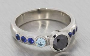 Asymmetrical black and blue diamond engagement ring  - Portfolio