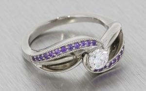 Bypass Swirl Amethyst And Diamond Engagement Ring - Portfolio