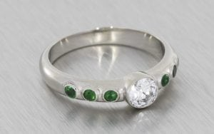 Contemporary, Bezel-Set, Diamond and Emerald Engagement Ring - Portfolio
