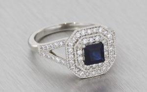 Double-Halo, Diamond and Sapphire Engagement Ring - Portfolio