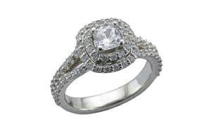 Beautiful double halo diamond set cushion cut ring - Portfolio