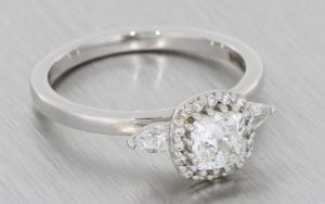 Cushion Cut Halo Trilogy Ring - Portfolio