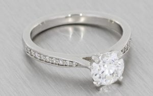 Beautiful solitaire engagement ring with diamond set shoulders - Portfolio