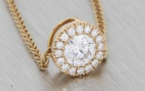 Two Way Rose Gold Pendant With Diamond Set Halo - Portfolio