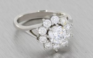 Beautiful Split shank Diamond Cluster ring with split shank - Portfolio