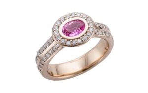 Oval Pink Sapphire halo Rose Gold engagement ring - Portfolio