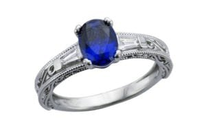 Custom filigree tapered baguette oval Sapphire ring - Portfolio