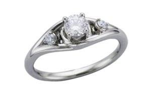 Unusual Three Stone Diamond Engagement Ring - Portfolio