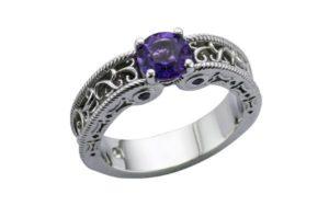 Ornate filigree Amethyst Engagement Ring - Portfolio