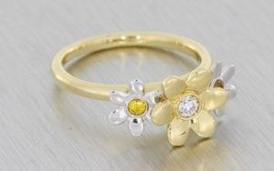 Mixed Metal Floral Engagement Ring - Portfolio