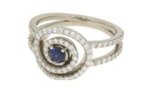 Contemporary diamond and sapphire swirl engagement ring - Portfolio