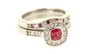 His & Hers Matching Vintage Ruby Engagement ring set - Portfolio
