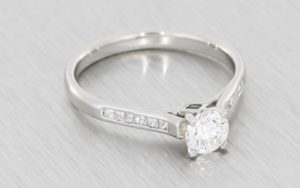 Platinum Engagement Ring with Channel Set Shoulders - Portfolio