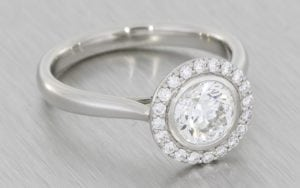 Bezel Set Halo Engagement Ring - Portfolio