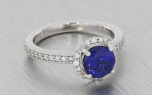 Sapphire and diamond halo ring set - Portfolio