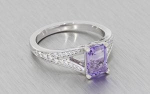 Radiant cut lilac amethyst split shank engagement ring - Portfolio