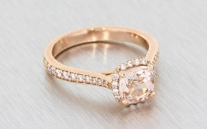 Rose Gold, Cushion-Cut, Morganite Halo Ring - Portfolio