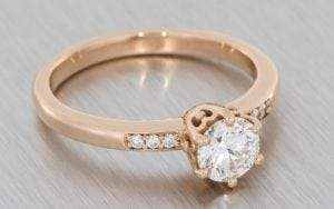 Rose Gold Six Claw Engagement Ring - Portfolio