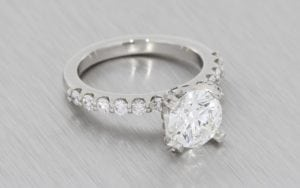 Round Brilliant Cut Engagement Ring With Diamond Shoulders - Portfolio