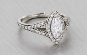Stunning Split Shank Marquise Diamond Halo Ring With Matching Wedding Band - Portfolio