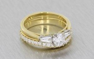 Yellow Gold Trilogy Engagement Ring With Matching Princess Cut Wedding Band - Portfolio