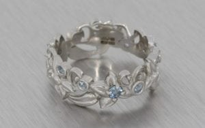 Platinum Floral Engagement Ring Band - Portfolio
