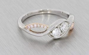 Two-Stone Diamond Asymmetric Engagement Ring - Portfolio