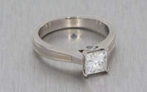 Textured Palladium Moissanite Engagement Ring - Portfolio
