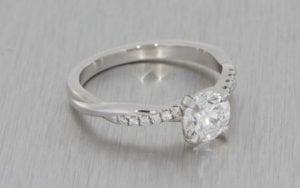 Contemporary Single Stone Diamond Ring With Plated Diamond Shoulders - Portfolio