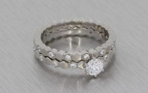 Platinum And Diamond Geometric Bridal Ring Set - Portfolio