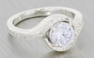 Diamond set custom bypass proposal engagement ring