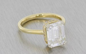Yellow Gold Moissanite And Diamond Engagement Ring