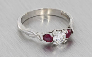Beautiful Ruby And Diamond Three Stone Ring