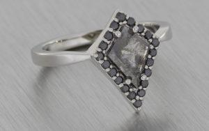 Platinum Kite Ring with Rose Cut Diamond and Black Halo