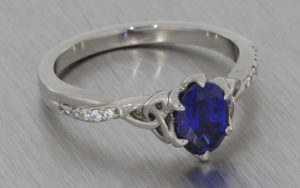 Oval sapphire and palladium ring