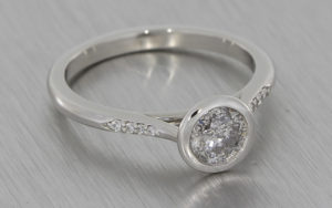 Salt and Pepper bezel set ring
