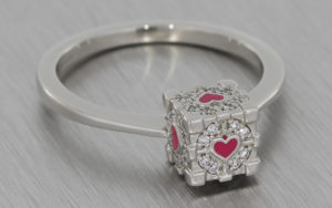 Platinum 'Companion Cube' inspired engagement ring