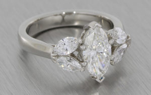 Platinum 5 stone Marquise diamond ring