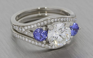 Platinum Engagement and Wedding Ring set with Diamonds and Tanzanites