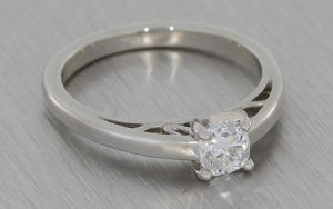 Platinum Solitaire Cushion Cut Diamond with Hidden Details