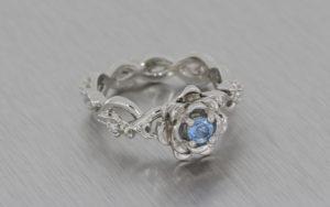 Floral Aquamarine and Diamond Engagement Ring