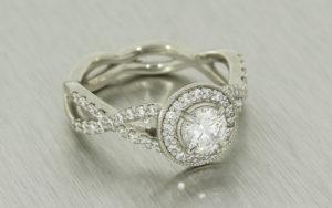 Vintage Inspired Diamond Halo Ring
