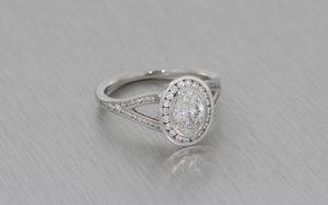 Oval Halo Platinum Diamond Ring